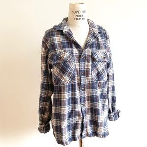 Vintage Plaid Flannel Boyfriend Button Down Shirt